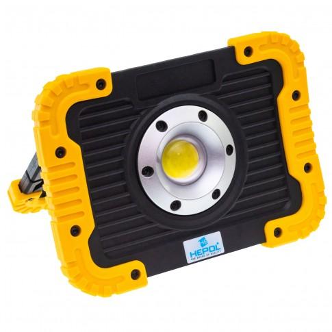 Proiector LED Hepol, 10W, lumina rece, IP65, alimentare baterii