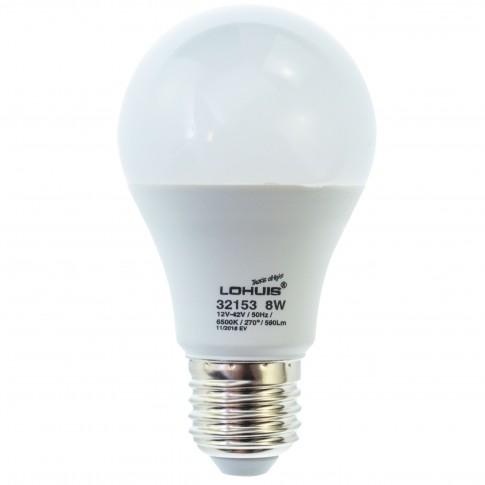 Bec LED Lohuis clasic A60 E27 8W 590lm lumina rece 6500 K, 12V - 42V