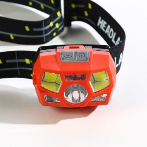 Lanterna LED frontala Hoff, cu senzor, acumulator, 1 LED alb 3W + 2 LED-uri COB 3W + 1 LED rosu 0.1W