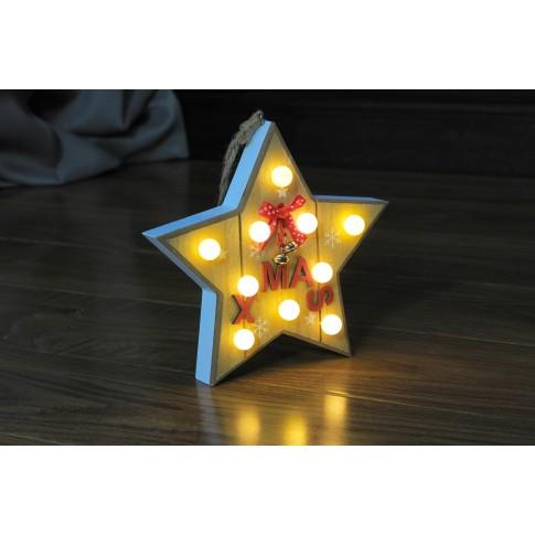 Decoratiune lemn stea Xmas 10 LED-uri cu lumina calda, alimentare baterii