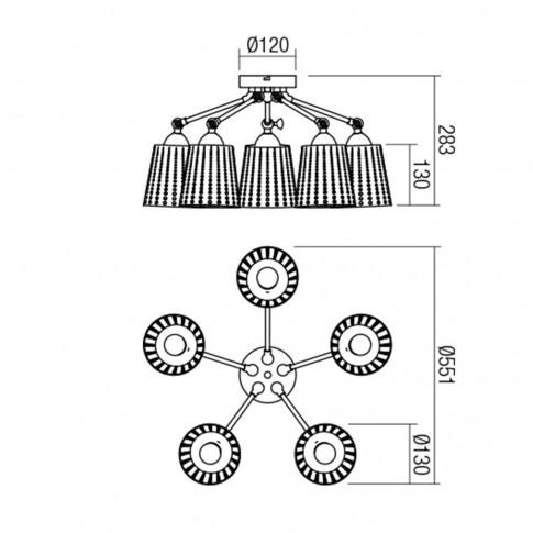 Plafoniera Dotter 01-1592, 5 x E27, alba