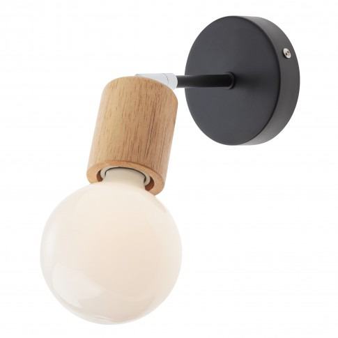 Aplica Easy BK / CH 01-1566, 1 x E27, negru mat + lemn natur