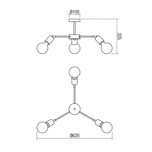 Plafoniera Easy BK / CH 01-1567, 3 x E27, negru mat + lemn natur