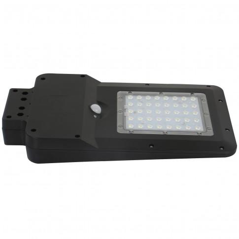 Corp de iluminat solar stradal LED Hepol, 15W, 1600lm, lumina rece - 6500 K, cu senzor de miscare, neagra, IP65