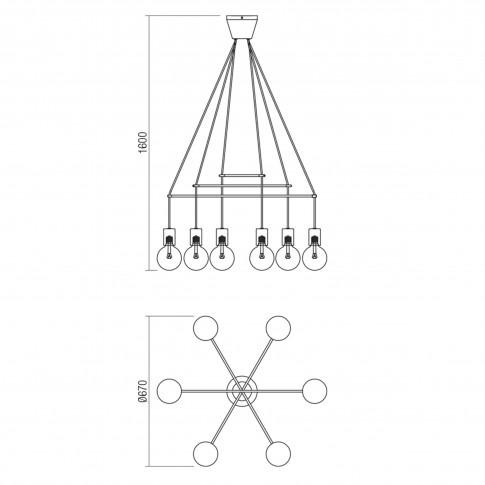 Lustra Mikado 01-1562, 6 x E27, alba