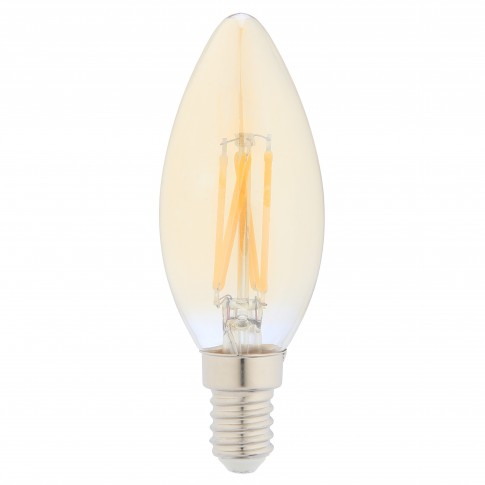 Bec LED filament Hoff lumanare E14 5W 500lm lumina calda 2500 K, auriu