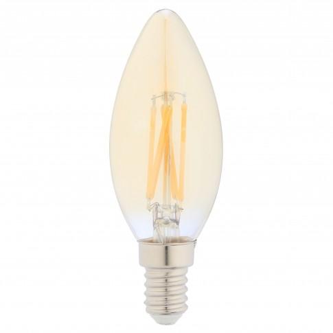 Bec LED filament Hoff lumanare E14 5W 430lm lumina calda 2500 K, auriu, dimabil