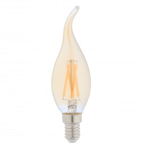 Bec LED filament Hoff lumanare fantezie E14 5W 430lm lumina calda 2500 K, flame, auriu, dimabil