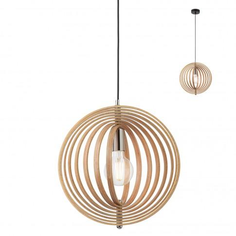 Suspensie Ilusio 01-1670, 1 x E27, negru + lemn natur
