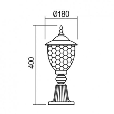 Stalp Matera 9633, 1 x E27, H 40 cm, negru cu patina cupru