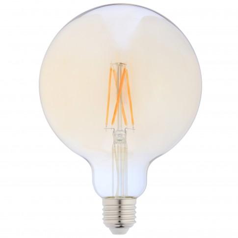 Bec LED filament Hoff glob G125 E27 8W 950lm lumina calda 2500 K, auriu, dimabil