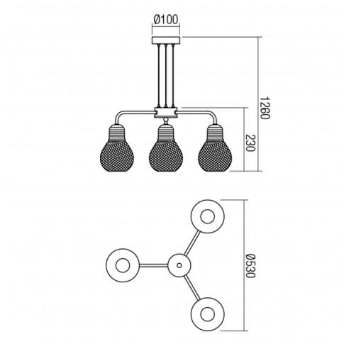 Lustra Edison 01-1579, 3 x E27, negru + cupru