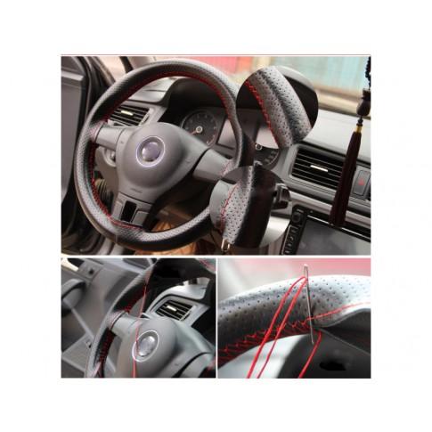 Husa auto pentru volan Otom, piele sintetica, cu snur, negru / rosu, D 37 - 39 cm