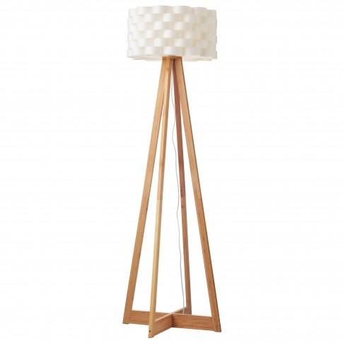 Lampadar Inge 01-1843, 1 x E27, 1480 mm, lemn bambus + alb