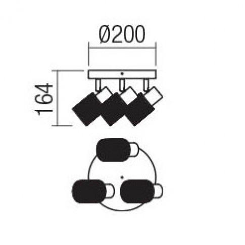 Plafoniera Vertigo 04-508, 3 x E14, crom + alb
