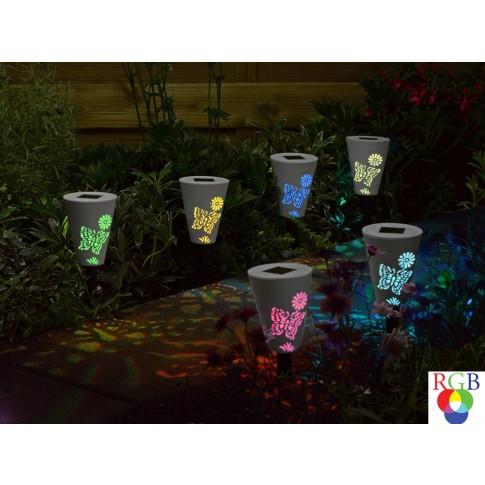 Lampa solara LED RGB Hoff, fluture, H 34 cm