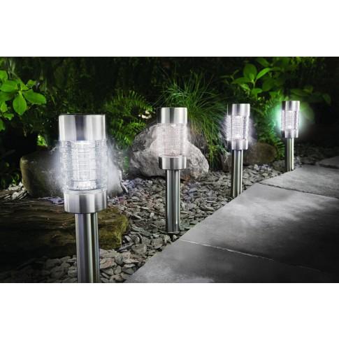 Lampa solara LED Hoff, sticla, inox, H 41.5 cm