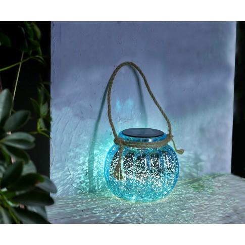 Lampa solara LED Hoff, borcan, sticla si plastic, albastru metalic, H 13 cm