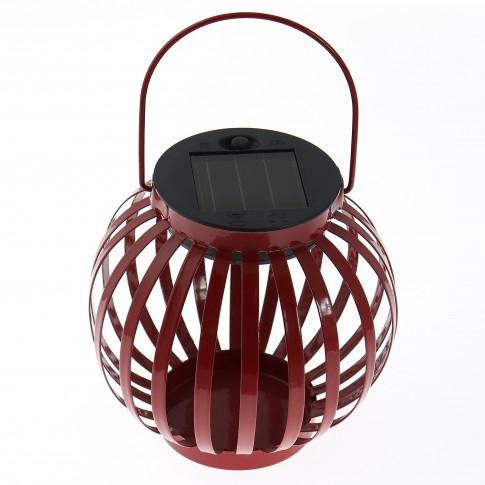 Lampa solara Hoff, borcan cu decoratiuni metalice, H 13 cm, diverse culori