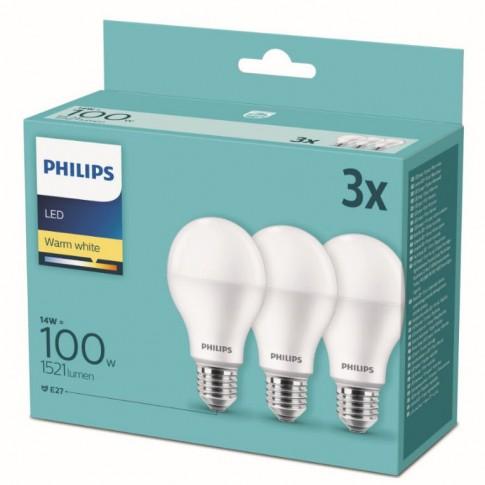 Bec LED Philips clasic A67 E27 14W 1521lm lumina calda 2700 K - 3 buc