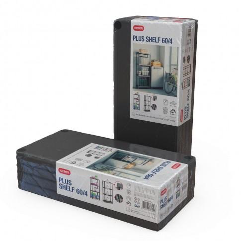 Raft din plastic, pentru depozitare, Keter Plus Shelf 60/4, 60 x 30 x 135 cm, negru, 20 kg/polita