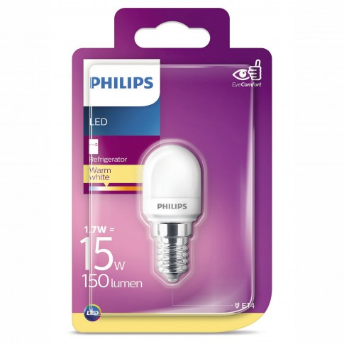 Bec LED Philips tubular E14 1.7W 136lm lumina calda 2700 K, pentru hota / frigider