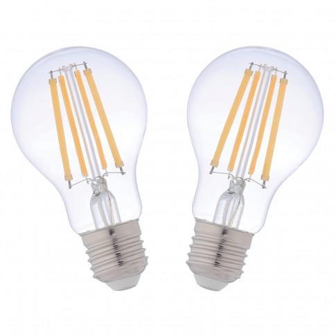 Bec LED filament Hoff clasic A60 E27 10W 1320lm lumina calda 2700 K - 2 buc