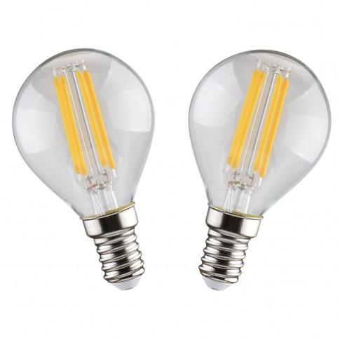 Bec LED filament Hoff mini G45 E14 5W 600lm lumina calda 2700 K - 2 buc