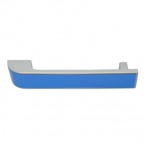 Maner pentru mobila, din plastic, finisaj crom satinat + albastru, M4 x 128 mm