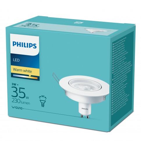 Spot LED incastrat, 3W, lumina calda, GU10, orientabil, alb