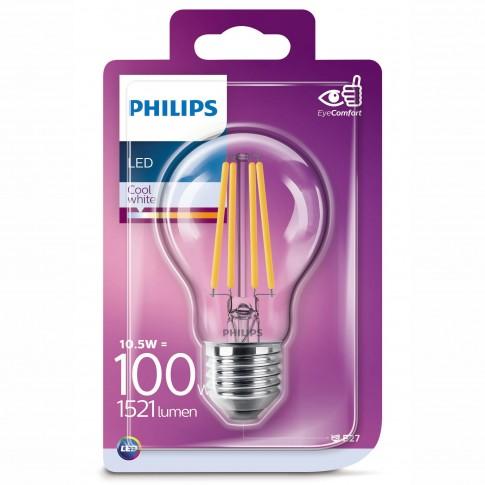Bec LED filament Philips clasic A60 E27 10.5W 1521lm lumina neutra 4000 K