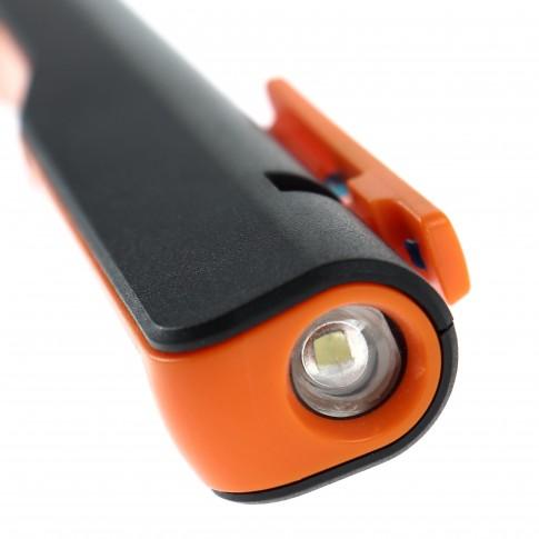 Lampa de lucru LED COB Hoff 1W+3W, 200lm, forma stilou, baza magnetica, clema magnetica, alimentare baterii