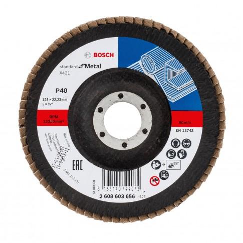 Disc lamelar frontal, pentru metal, Bosch Standard for Metal 2608603656, 125 x 22.23 mm, granulatie 40