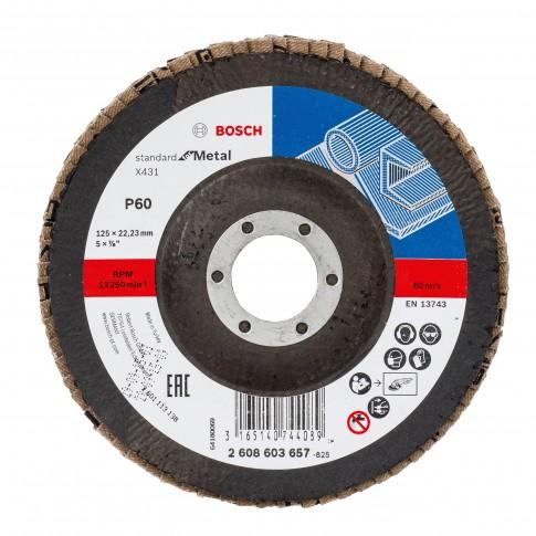 Disc lamelar frontal, pentru metal, Bosch Standard for Metal 2608603657, 125 x 22.23 mm, granulatie 60