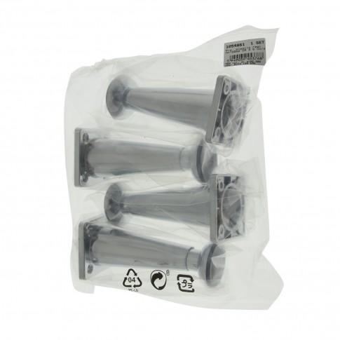Picioare mobila, universale, reglabile, din plastic, aspect cromat, 100 mm, set 4 bucati