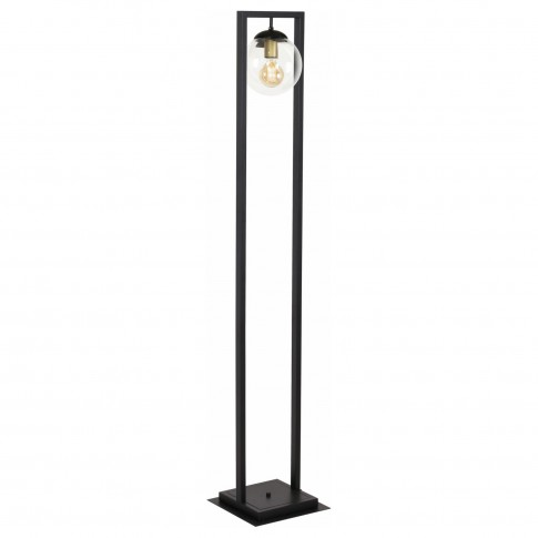 Lampadar Rey 107003, 1 x E27, negru + alb transparent