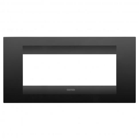 Rama Gewiss Chorus Geo GW16406VN, 6 module, negru - satin, pentru priza / intrerupator