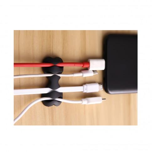 Organizator multifunctional cabluri PNI Tidy Clip 02 din silicon flexibil cu autoadeziv, pentru 8 cabluri 4 x 2, diametru 6 mm, negru, set 2 buc