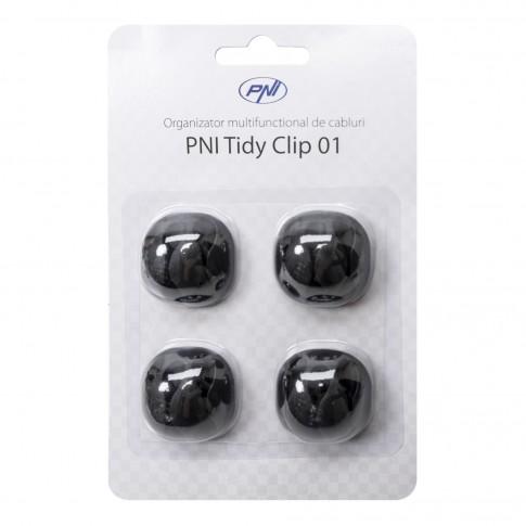 Organizator multifunctional cabluri PNI Tidy Clip 01 din silicon flexibil cu autoadeziv pentru 12 cabluri 4 x 3 cu diametru de 7 mm, negru, set 4 bucati