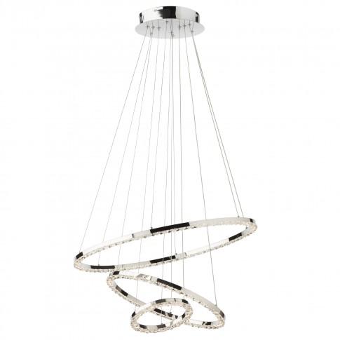 Suspensie LED Nunzia 01-2173, 54W, 3402 lm, lumina calda, crom + decoratiuni din cristal transparent