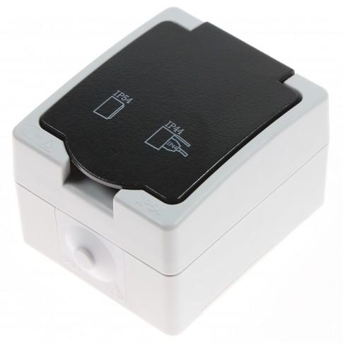 Priza simpla Hoff Cubik, aparenta, cu capac, contact de protectie, protectie copii, 16A, IP54, gri + negru