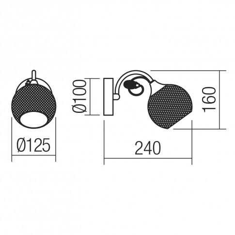 Aplica Aspera 02-969, 1 x E14, negru + transparent