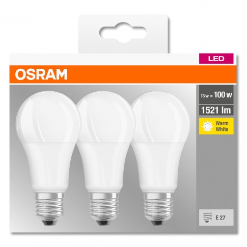 Bec LED Osram clasic A E27 13W 1521lm lumina calda 2700 K - 3 buc