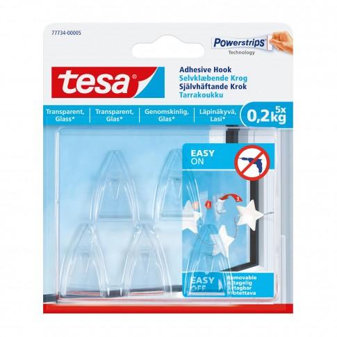Carlig adeziv, transparent, Tesa, 0.2 kg, set 5 bucati