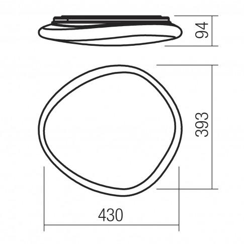 Plafoniera LED Dreamer 05-907, 36W, 2500lm, lumina neutra, alb cu efect de sclipire