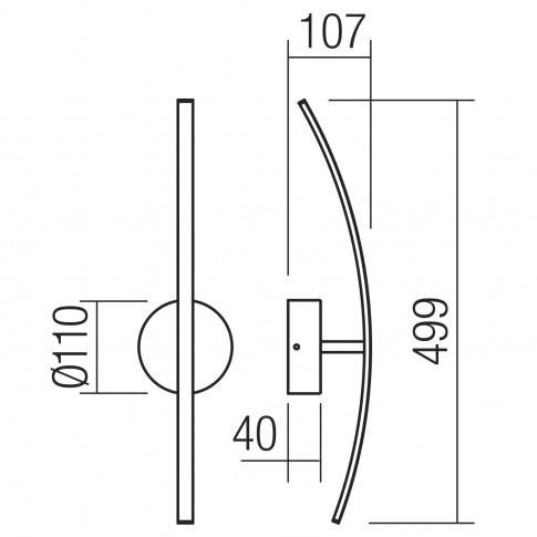 Aplica LED Spatha 01-2183, 6W, 480lm, lumina calda, aurie