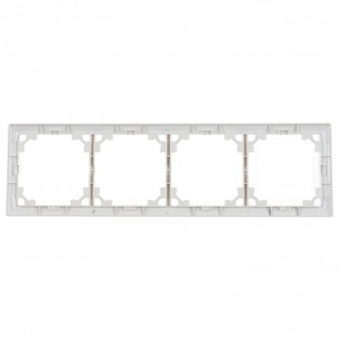 Rama Hoff Soft, 4 module, alba, 86 x 297 mm, pentru priza / intrerupator
