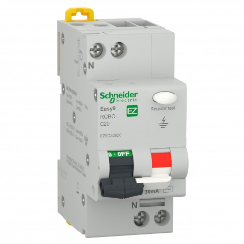 Intrerupator automat modular diferential Schneider Electric EZ9D32620, 4.5kA, 1P+N, 20A, 30mA, curba C