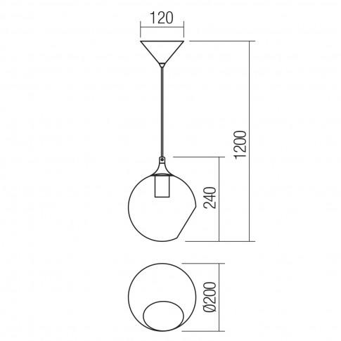 Suspensie Nido 01-2323, 1 x E27, negru + ambra