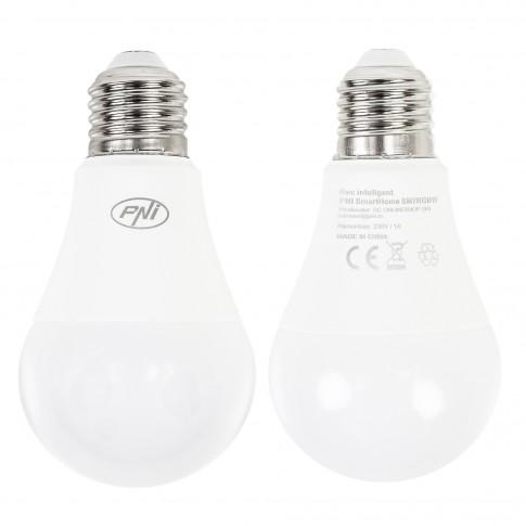 Bec inteligent LED PNI Smarthome SB7RGB, wi-fi, clasic, E27, 7W, 600lm, lumina calda / rece / RGB, dimabil, programabil